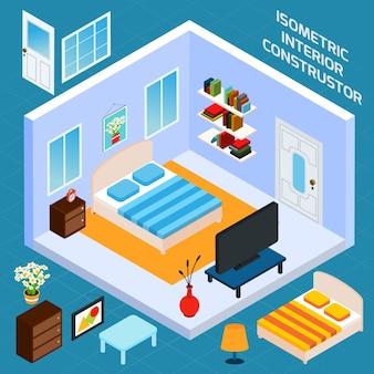 Isometrische schlafzimmer interior