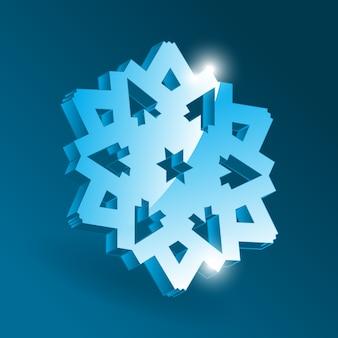 Isometrische schneeflockensymbol mit verschiedenen perspektivformen. einfaches blaues schneeflockenelement für weihnachtsentwurf und neujahrsdekoration