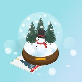 Isometrische schneekugel weihnachtsbaum vektor
