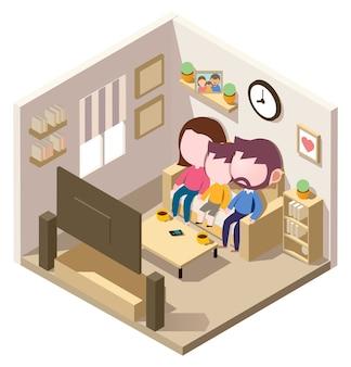 Isometrische schöne familie, die im wohnzimmer fernsieht
