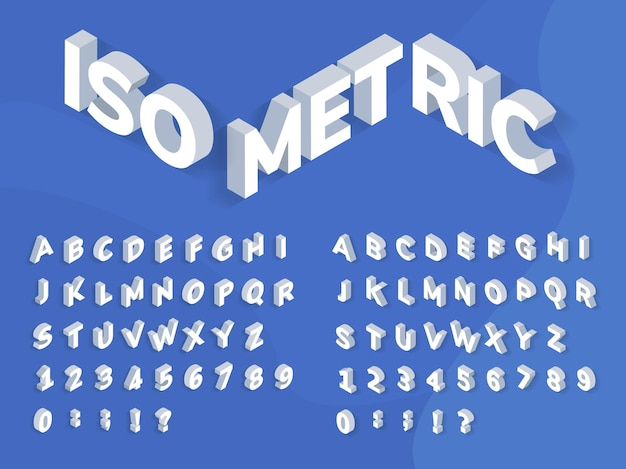 Isometrische schriftart 3d-perspektiveffekt geometrischer typografie-vektorsatz