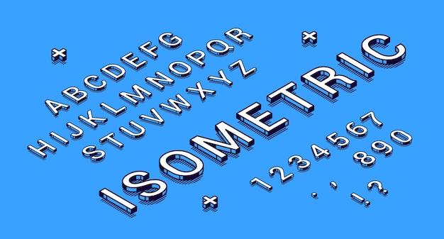 Isometrische schriftart, geometrischer 3d-typ.