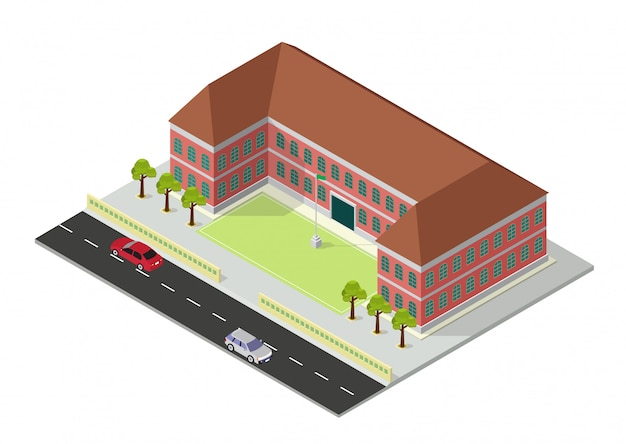 Isometrische schule oder universitätsgebäude