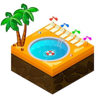 Isometrische schwimmbad am strand