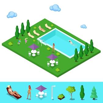 Isometrische schwimmbad. sommer-leute nahe dem äußeren pool. vektor-illustration
