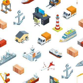 Isometrische seelogistik und seehafenmuster oder hintergrundillustration. transport seehafen, frachtcontainer
