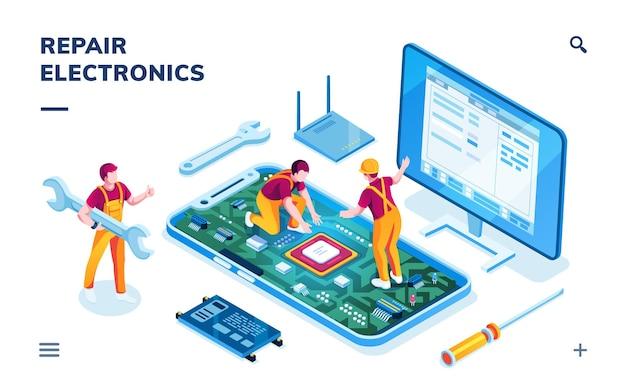 Isometrische seite für elektronikreparaturservice