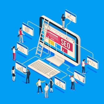 Isometrische seo agentur. kreative menschen start-up entwickeln team zusammen am computer erstellen. 3d seo
