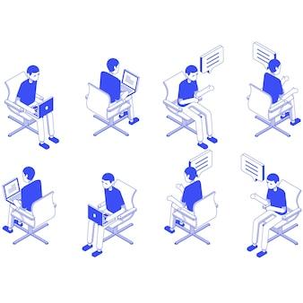 Isometrische set männlich büro sitzen