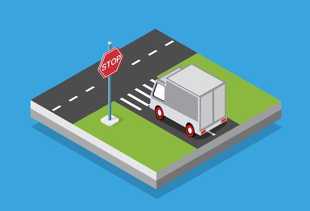 Isometrische set pkw und lkw transport