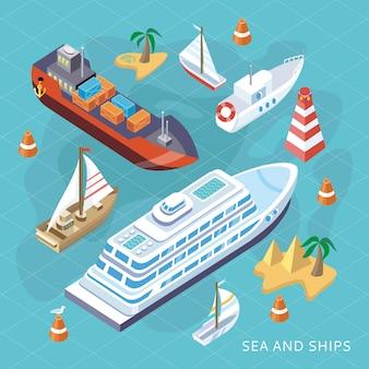 Isometrische set schiffe. schiffstransport