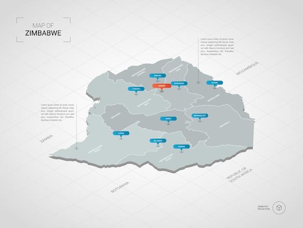 Isometrische simbabwe-karte. stilisierte kartenillustration mit städten, grenzen, hauptstadt, verwaltungsgliedern und zeigern; verlaufshintergrund mit gitter.