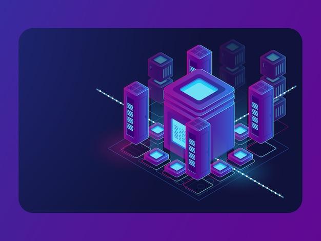 Isometrische smart city, digitale stadt, serverraum, datenflussverarbeitung, rechenzentrum