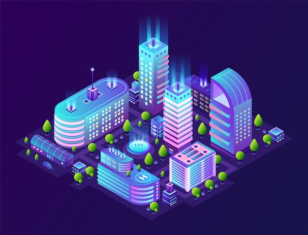 Isometrische smart city illustration