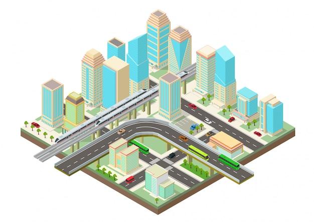 Isometrische smart city mit wolkenkratzern, autobahn und transport