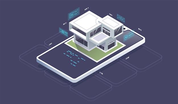 Isometrische smart-home-technologie-oberfläche auf dem smartphone-app-bildschirm mit augmented-reality-ar-ansicht. kleines haus steht auf dem bildschirm handy und drahtlose verbindungen
