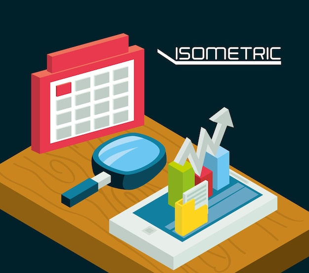 Isometrische smartphone mit business-apps