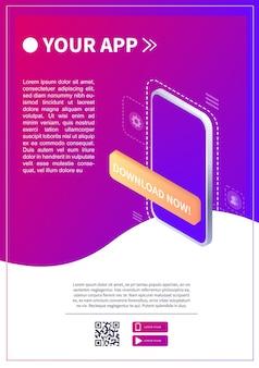 Isometrische smartphone scannt qr-code download-seite der mobilen app web-banner-konzept-web