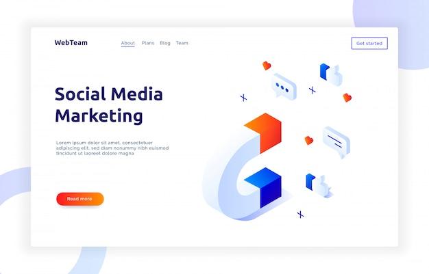Isometrische social-marketing-banner