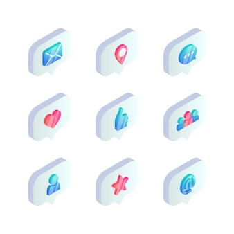 Isometrische social media-sprechblase-symbol. 3d-benachrichtigungen wie zähler, herz, hand, teamwork, benutzer, e-mail, nachricht, bewertungssymbole.