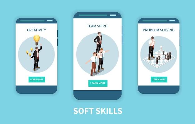 Isometrische soft skills smartphone bildschirm eingestellt