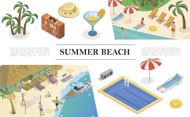 Isometrische sommerferien zusammensetzung mit palmen tasche hut cocktail schwimmbad liege regenschirm rettungsring tonbandgerät menschen ruhen auf tropischen strand