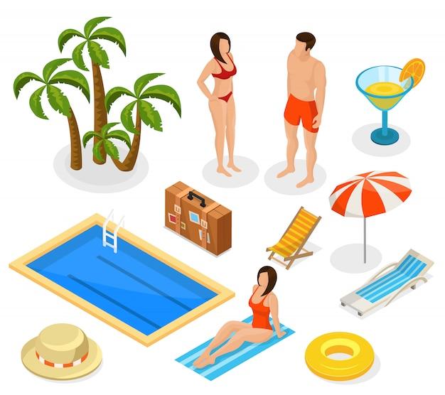 Isometrische sommerferienelemente eingestellt