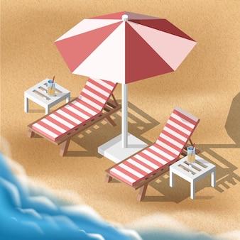 Isometrische sommerillustration. zwei sonnenliegen mit sonnenschirm am sandstrand mit meer.