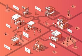 Isometrische Speisengerichte 3d, städtischer Marktplatz