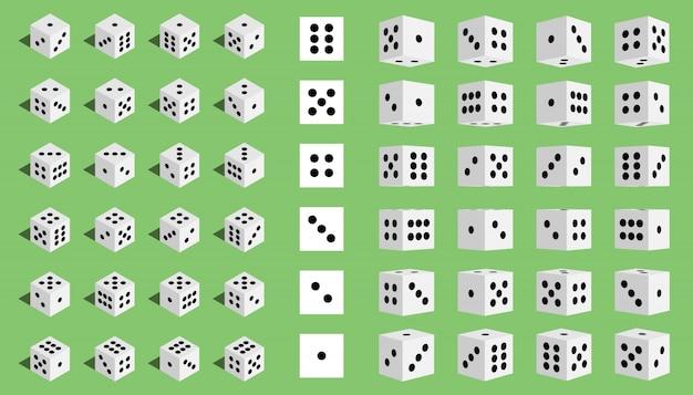 Isometrische spielende kombination der würfel 3d, würfel.