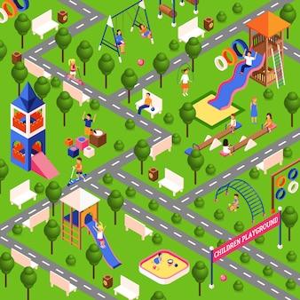 Isometrische spielplatz illustration