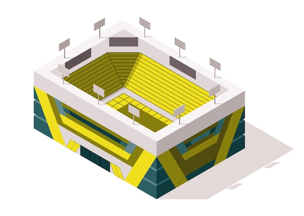 Isometrische sportarena außen. stadiongebäude.