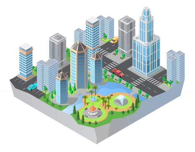 Isometrische stadt 3d, im stadtzentrum gelegen mit modernen wohngebäuden, wolkenkratzer, straßen, park