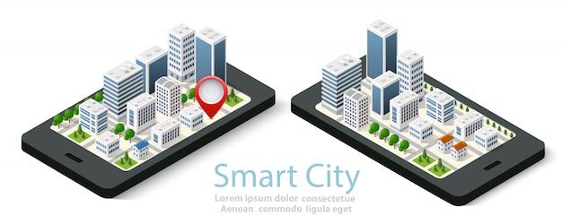 Isometrische stadt der karte 3d des mobiles