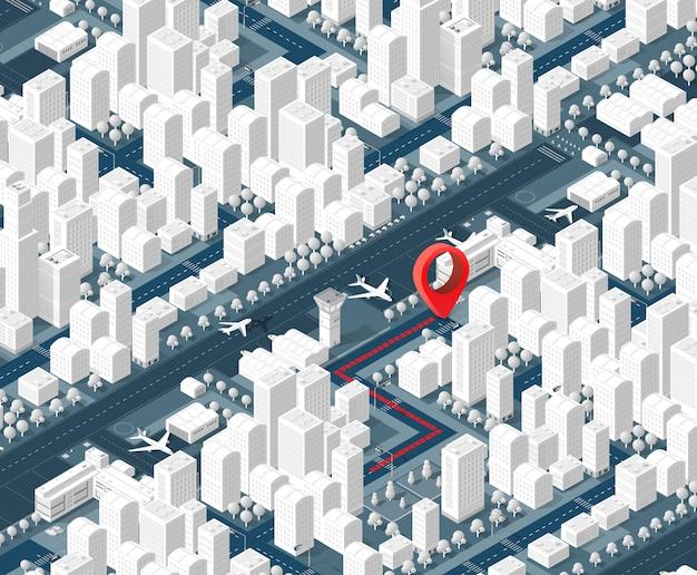Isometrische stadt der karte 3d
