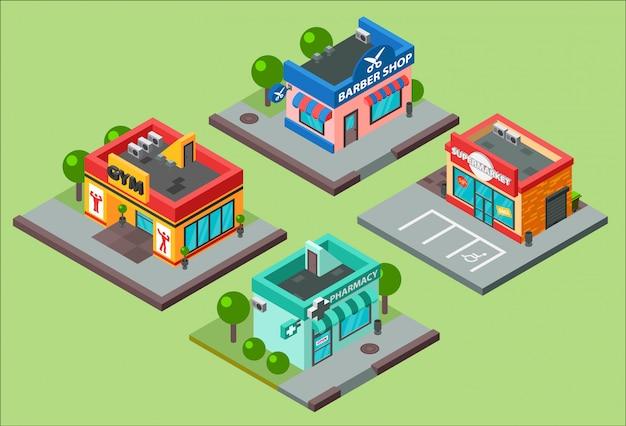 Isometrische stadt gebäude kiosk supermarkt supermarkt. barbershop, apotheke, schönheitssalon, fitnessstudio und shop supermarkt mall center städtisches geschäft isometrische konstruktion illustration