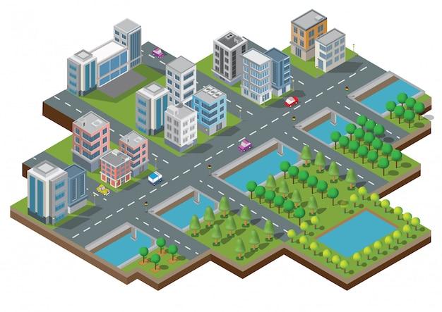 Isometrische stadt gebäude vektor. die stadt am hof mit straße und bäumen. brücke über den fluss. smart city und öffentlicher park. gebäude 3d, autos, kapital, vektorbüro und metropolenkonzept.