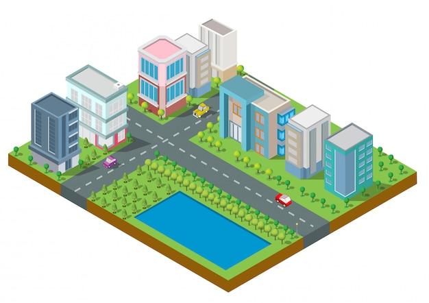 Isometrische stadt gebäudevektor. die stadt auf hof mit straße und bäumen. brücke über dem fluss. intelligente stadt und öffentlicher park. gebäude 3d, autos, hauptstadt, vektorbüro und metropolenkonzept.