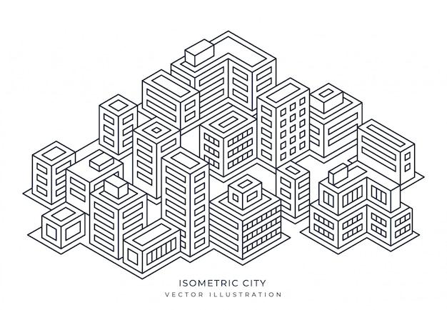 Isometrische stadt in linienart