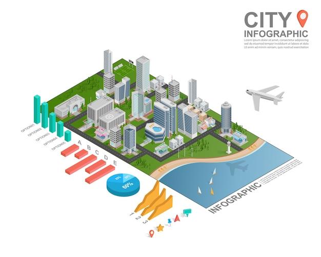 Isometrische stadt infografik.