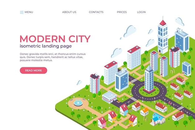 Isometrische stadt-landingpage. 3d-smart-city-konzept mit wolkenkratzern, geschäftszentren, straßen und autos. vektorillustrations-webseitenschablone, moderne intelligente zukünftige stadt mit wolkenkratzern anderes gebäude