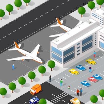 Isometrische stadt mit dem flughafen mit der landebahn vom stadtgebäude.