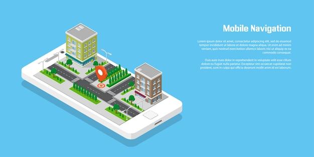 Isometrische stadt mit straßen und gebäuden auf smartphone. karte auf mobiler anwendung. 3d-vektorillustration. mobiles navigationskonzept.