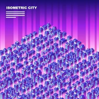 Isometrische stadt mit wolkenkratzern.