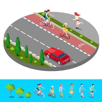 Isometrische stadt. radweg mit radfahrer. fußweg mit laufender frau. vektor-illustration