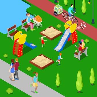 Isometrische stadt. stadtpark mit kinderspielplatz und radweg. vektor-illustration