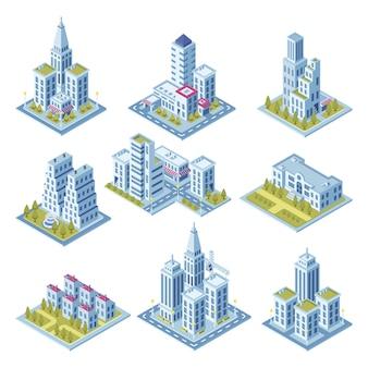 Isometrische stadtarchitektur, stadtbildgebäude, landschaftsgarten und geschäftslokalwolkenkratzer.