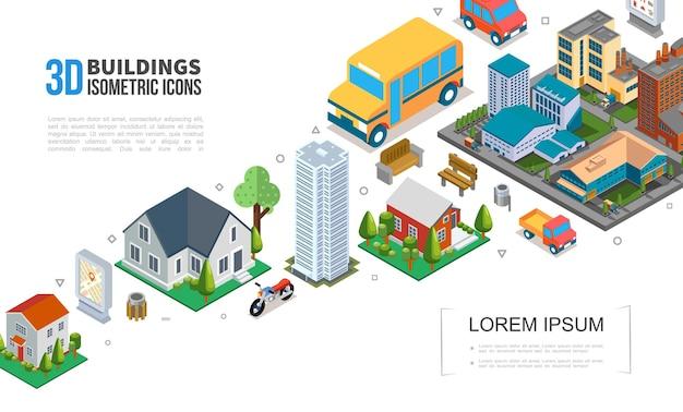 Isometrische stadtbild-elementensammlung mit stadtgebäuden wolkenkratzer-vorstadthäusern fahrzeuge müllbäume bänke illustration