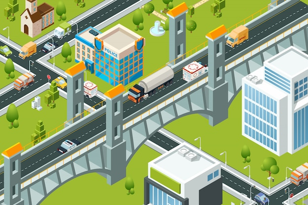 Isometrische stadtbrücke. zugbahnviaduktstadtlandschafts-routenstraßenbilder der karte 3d