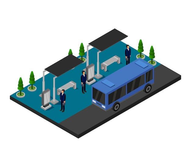 Isometrische stadtbushaltestelle